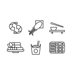 Japanese food black line icons set asian cuisine vector