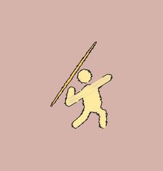 Javelin throwing athlete man - in hatching style vector