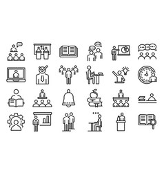 Lecture class icons set outline style vector