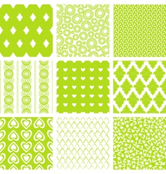 lime green patterns set vector image