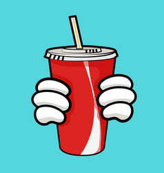 Llustration of red soda cup and holding hands vector