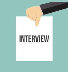 man showing paper interview text vector image
