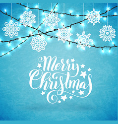 merry christmas poster with hand-drawn lettering vector image