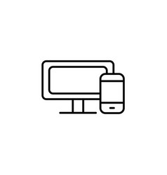 monitor and phone icon black vector image