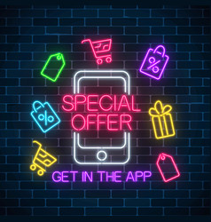 Neon advertising banner of mobile app special vector