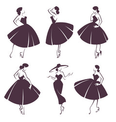 New look girls collection of lady in retro style vector