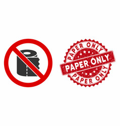 No toilet paper icon with distress paper only seal vector