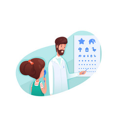 Ophthalmology clinic visit flat vector