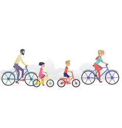 parents with kids riding bicycles vector image