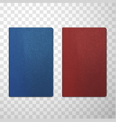 passport covers blue and red realistic mockups vector image