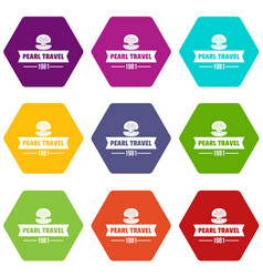 pearl travel icons set 9 vector image