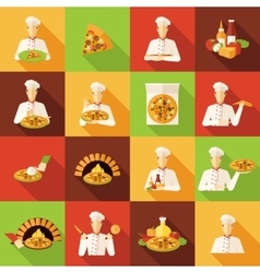 Pizza Makers Flat Icons Set vector image
