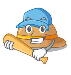 playing baseball cork hat isolated on the mascot vector image