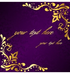 purple frame with gold filigree vector image