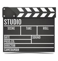 Realistic movie clapper board vector