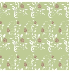 Retro seamless pattern branches roses vector