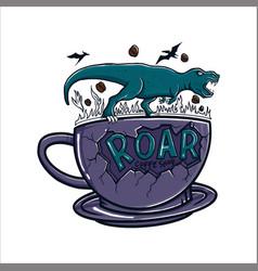 Roar cup coffee vector