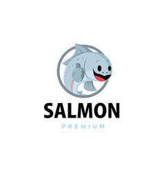 salmon thumb up mascot character logo icon vector image