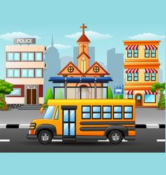 School bus on city skyline vector