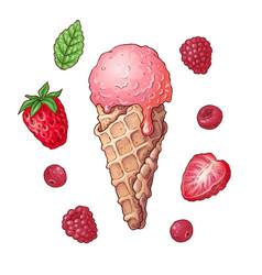 set ice cream strawberry raspberry cherry hand vector image
