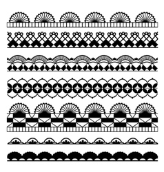 Set of black and white laces vector image