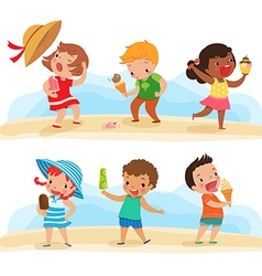 Set of children with ice cream vector
