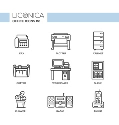 Set of modern office thin line flat design icons vector image