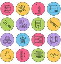 Set of winemaking wine tasting icons vector