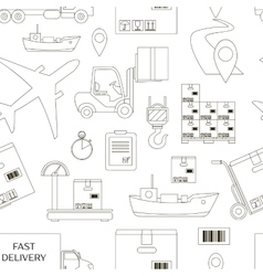 Shipping and delivery icons set pattern vector image