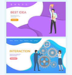 shopping web page people interaction teambuilding vector image