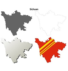 Sichuan blank outline map set vector image