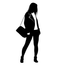 silhouette of a girl with a bag on his shoulder vector image