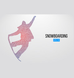 silhouette of a snowboarder jumping isolated vector image