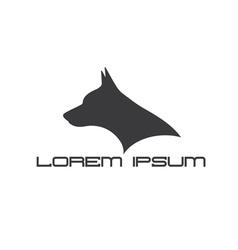 silhouette of doberman dog head vector image