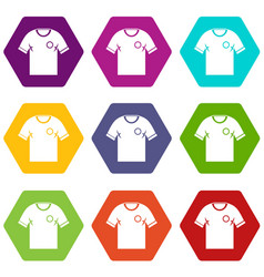 soccer shirt icon set color hexahedron vector image