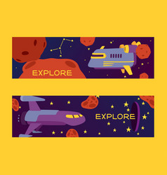 spaceships in cosmos with planets set banners vector image