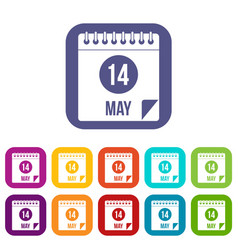 spiral calendar page 14th of may icons set flat vector image