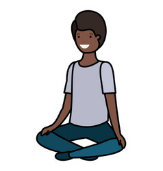 Teenager black boy seated avatar character vector