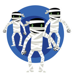 Three mummies in a blue circle on white bakground vector