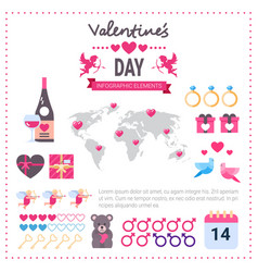valentines day infographic banner set icons vector image