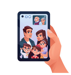 video call or family chat in phone or smartphone vector image
