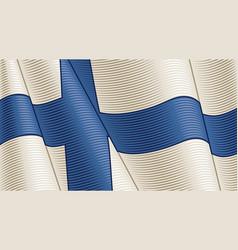 Vintage flag finland close-up background vector