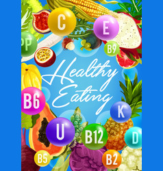 Vitamin food poster for healthy eating design vector