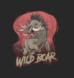 Wild boar wild animal killer hunter vector