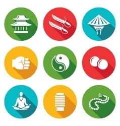 Wing Chun Icons Set vector image