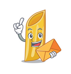 With envelope penne pasta character cartoon vector