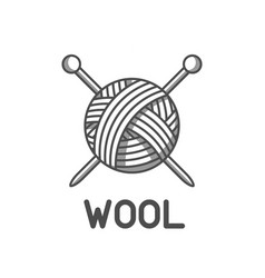 Wool emblem with with ball of yarn and knitting vector