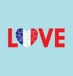 word love with french flag vector image