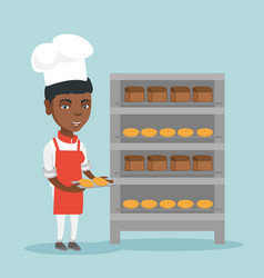young african baker holding a tray with bread vector image