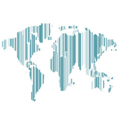 isolated blue color worldmap of lines on white vector image vector image